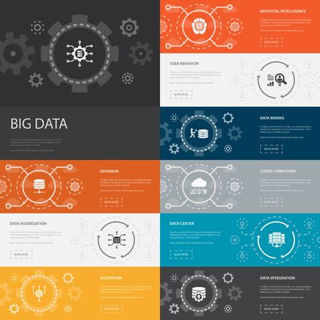 Ilustración de Big data Infographic 10 line icons banners. Database, Artificial intelligence, User behavior, Data center simple icons - Imagen libre de derechos