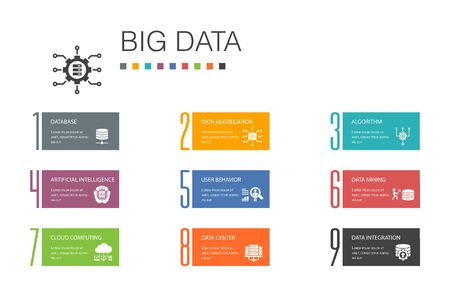 Ilustración de Big data Infographic 10 option line concept.Database, Artificial intelligence, User behavior, Data center simple icons - Imagen libre de derechos
