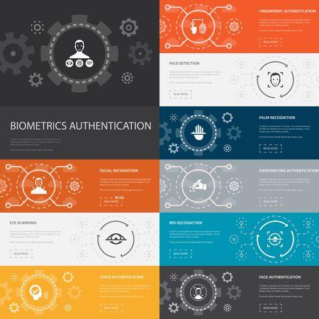 Ilustración de Biometrics authentication Infographic 10 line icons banners. facial recognition, face detection, fingerprint identification, palm recognition simple icons - Imagen libre de derechos