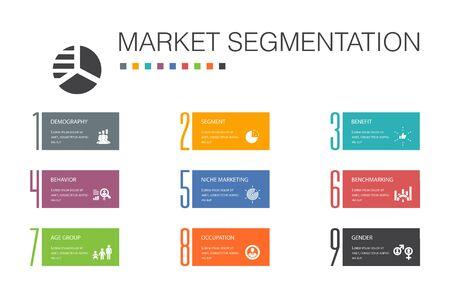 Ilustración de market segmentation Infographic 10 option line concept.demography, segment, Benchmarking, Age group simple icons - Imagen libre de derechos