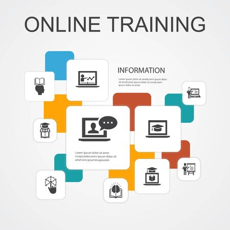 Ilustración de Online Training Infographic 10 line icons template.Distance Learning, learning process, elearning, seminar simple icons - Imagen libre de derechos