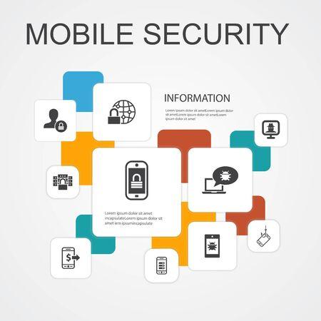 Ilustración de mobile security Infographic 10 line icons template.mobile phishing, spyware, internet security, data protection simple icons - Imagen libre de derechos