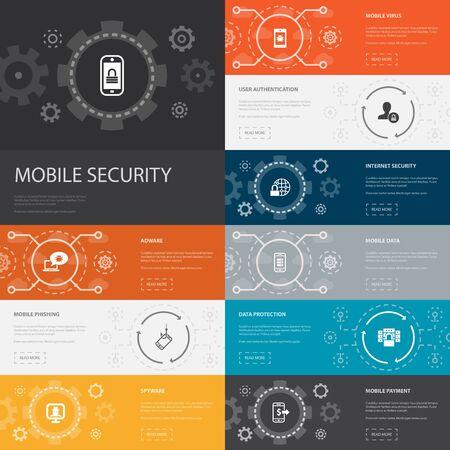 Ilustración de mobile security Infographic 10 line icons banners.mobile phishing, spyware, internet security, data protection simple icons - Imagen libre de derechos