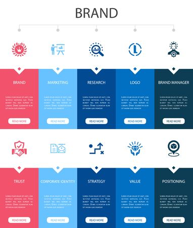 Ilustración de brand Infographic 10 option UI design.marketing, research, brand manager, strategy simple icons - Imagen libre de derechos