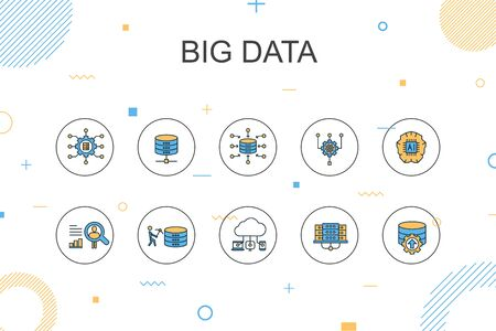 Ilustración de Big data trendy Infographic template. Thin line design with Database, Artificial intelligence, User behavior, Data center - Imagen libre de derechos