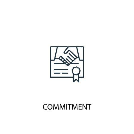 Illustration pour commitment concept line icon. Simple element illustration. commitment concept outline symbol design. Can be used for web and mobile UI - image libre de droit