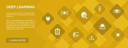 Ilustración de Deep learning banner 10 icons concept.algorithm, neural network, AI, Machine learning simple icons - Imagen libre de derechos