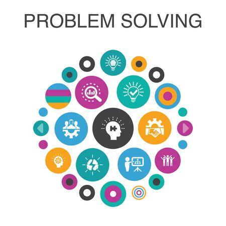 Ilustración de problem solving Infographic circle concept. Smart UI elements analysis, idea, brainstorming, teamwork - Imagen libre de derechos
