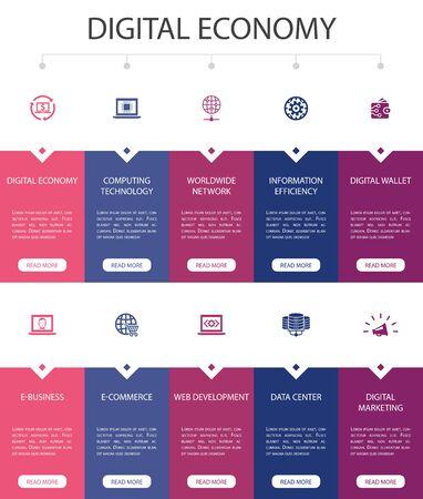 Ilustración de Digital economy Infographic 10 option UI design.computing technology, e-business, e-commerce, data center simple icons - Imagen libre de derechos