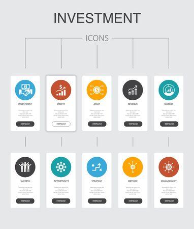 Ilustración de Investment nfographic 10 steps UI design.profit, asset, market, successsimple icons - Imagen libre de derechos