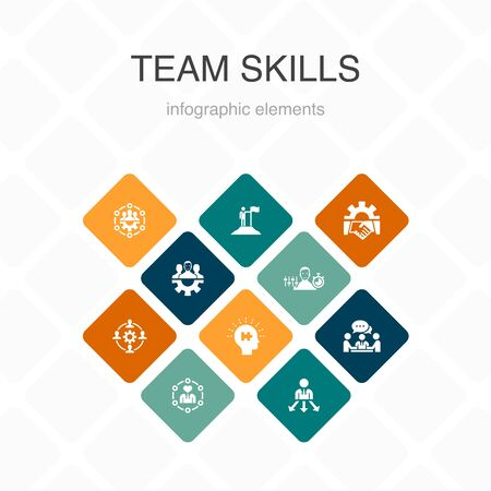 Ilustración de team skills Infographic 10 option color design. Collaboration, cooperation, teamwork, communication simple icons - Imagen libre de derechos