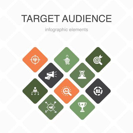 Ilustración de target audience Infographic 10 option color design. consumer, demographics, niche, promotion simple icons - Imagen libre de derechos