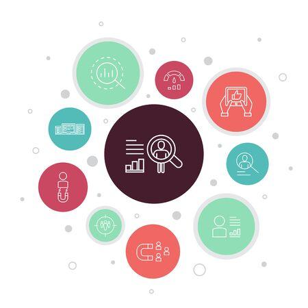 Ilustración de User behaviour Infographic 10 steps bubble design.Analytics, user data, Performance, Usability simple icons - Imagen libre de derechos