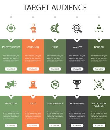 Ilustración de target audience Infographic 10 steps UI design.consumer, demographics, niche, promotion simple icons - Imagen libre de derechos