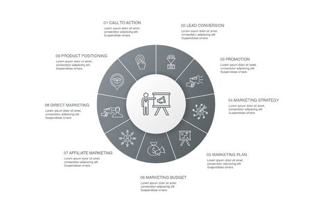 Illustration for marketing Infographic 10 steps circle design.call to action, promotion, marketing plan, marketing strategy simple icons - Royalty Free Image