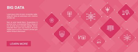 Ilustración de Big data banner 10 icons concept.Database, Artificial intelligence, User behavior, Data center simple icons - Imagen libre de derechos