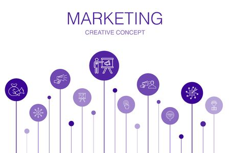 Illustration for nmarketing Infographic 10 steps template.call to action, promotion, marketing plan, marketing strategy simple icons - Royalty Free Image
