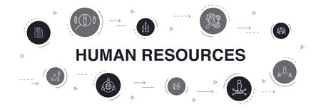 Illustration pour Human Resources Infographic 10 steps circle design. job interview, hr manager, outsourcing, resume simple icons - image libre de droit