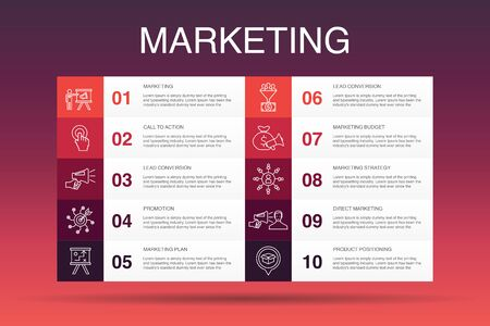 Illustration for marketing Infographic 10 option template.call to action, promotion, marketing plan, marketing strategy simple icons - Royalty Free Image