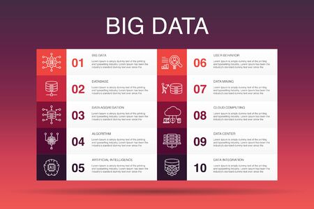 Ilustración de Big data Infographic 10 option template.Database, Artificial intelligence, User behavior, Data center simple icons - Imagen libre de derechos