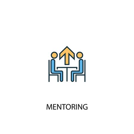 Illustration pour Mentoring concept 2 colored line icon. Simple yellow and blue element illustration. Mentoring concept outline design - image libre de droit