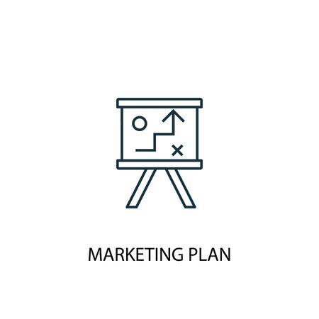 Ilustración de marketing plan concept line icon. Simple element illustration. marketing plan concept outline symbol design. Can be used for web and mobile - Imagen libre de derechos