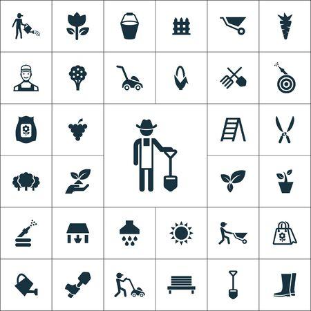 Illustration pour gardening icons universal set for web and UI - image libre de droit