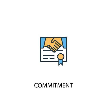 Illustration pour commitment concept 2 colored line icon. Simple yellow and blue element illustration. commitment concept outline symbol - image libre de droit