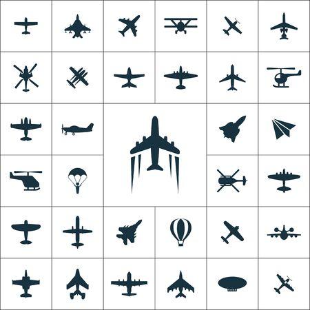 Illustration pour aviation icons universal set for web and UI - image libre de droit