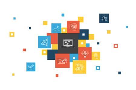 Ilustración de digital strategy Infographic 10 steps pixel design. internet, SEO, content marketing, mission simple icons - Imagen libre de derechos