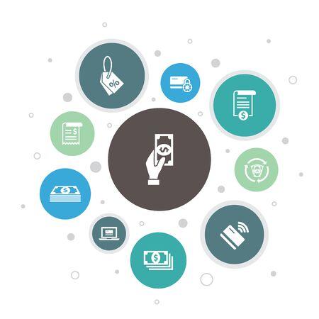 Ilustración de passive income Infographic 10 steps bubble design. attack, hacker, cyber crime, fraud simple icons - Imagen libre de derechos