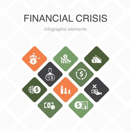 Illustrazione per financial crisis Infographic 10 option color design.budget deficit, Bad loans, Government debt, Refinancing simple icons - Immagini Royalty Free