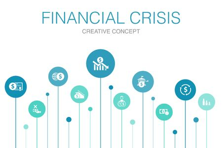 Illustrazione per financial crisis Infographic 10 steps template.budget deficit, Bad loans, Government debt, Refinancing simple icons - Immagini Royalty Free