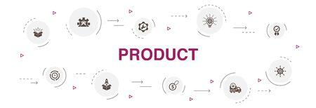 Illustration pour product Infographic 10 steps circle design. price, quality, delivery, development simple icons - image libre de droit