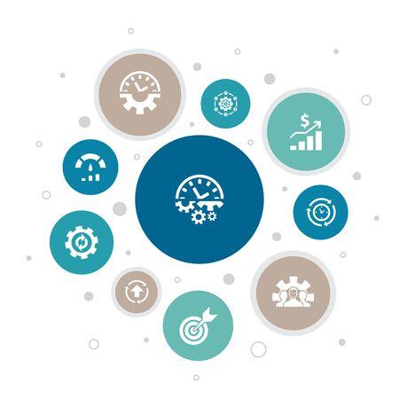 Illustration pour Productivity Infographic 10 steps bubble design. performance, goal, system, process simple icons - image libre de droit
