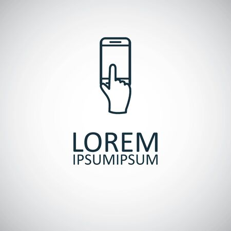 Illustration pour touchscreen smartphone icon, on white background. - image libre de droit