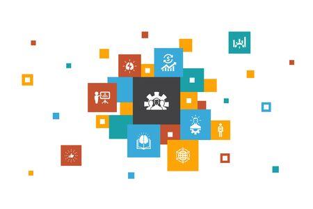 Ilustración de Development Infographic 10 steps pixel design.global solution, knowledge, investor, Brainstorming simple icons - Imagen libre de derechos