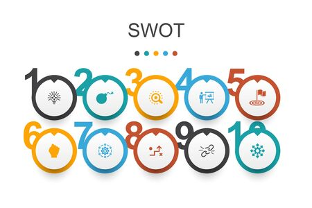 Illustration pour SWOT Infographic design template. Strength, weakness, opportunity, threat icons - image libre de droit
