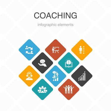 Ilustración de coaching Infographic 10 option color design.support, mentor, skills, training simple icons - Imagen libre de derechos