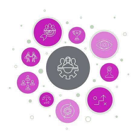 Ilustración de Teamwork Infographic 10 steps bubble design. collaboration, goal, strategy, performance simple icons - Imagen libre de derechos