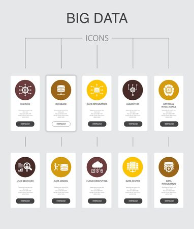 Ilustración de Big data Infographic 10 steps UI design.Database, Artificial intelligence, User behavior, Data center simple icons - Imagen libre de derechos