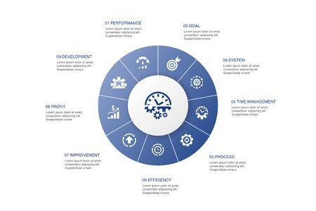 Illustration pour Productivity Infographic 10 steps circle design. performance, goal, system, process icons - image libre de droit
