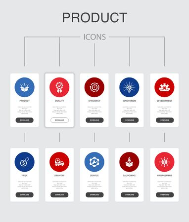 Illustration pour product Infographic 10 steps UI design.price, quality, delivery, development simple icons - image libre de droit