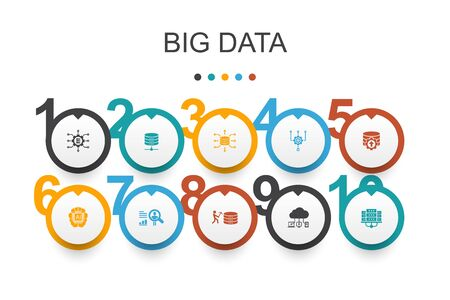 Ilustración de Big data Infographic design template.Database, Artificial intelligence, User behavior, Data center icons - Imagen libre de derechos