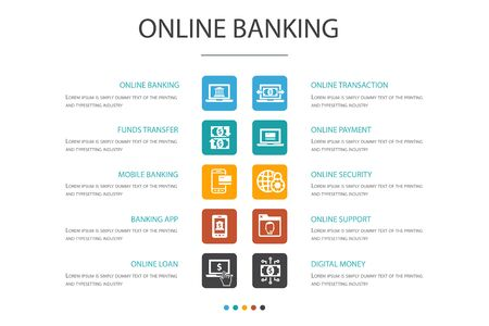 Illustration pour online banking Infographic 10 option concept.funds transfer, mobile banking, online transaction, digital money simple icons - image libre de droit