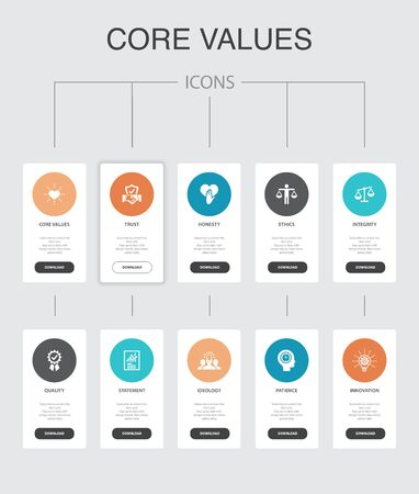 Ilustración de Core values Infographic 10 steps UI design. trust, honesty, ethics, integrity simple icons - Imagen libre de derechos