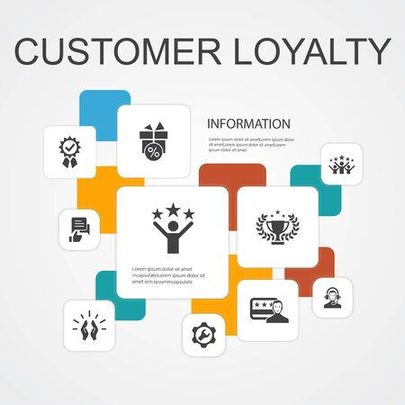 Illustrazione per Customer Loyalty Infographic 10 line icons template. reward, feedback, satisfaction, quality simple icons - Immagini Royalty Free