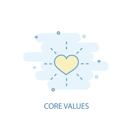 Illustration pour Core values line concept. Simple line icon, colored illustration. Core values symbol flat design - image libre de droit