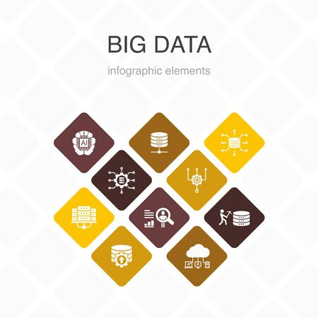 Ilustración de Big data Infographic 10 option color design.Database, Artificial intelligence, User behavior, Data center simple icons - Imagen libre de derechos