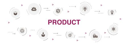 Illustration pour product Infographic 10 steps circle design. price, quality, delivery, development icons - image libre de droit